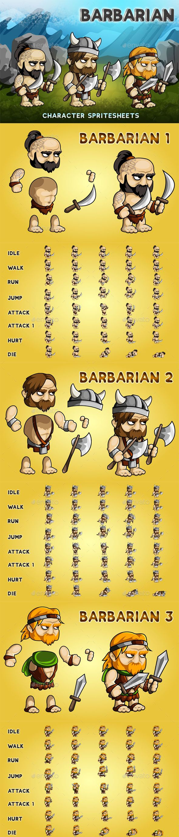 Barbarian 2D Game Character Sprite Sheet - Sprites Game Assets