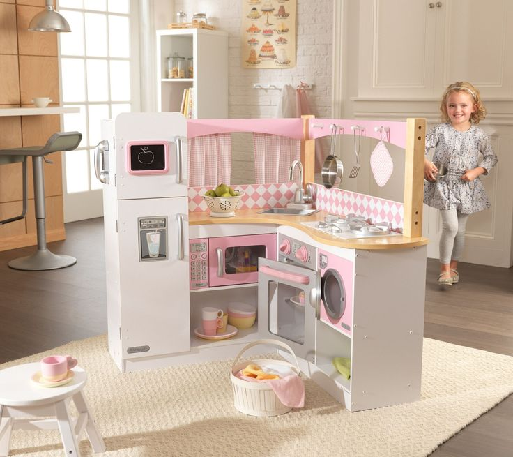 Playing with our Grand Gourmet Kitchen will make any kid feel like a world-class chef! This deluxe kitchen is loaded with fun details, including an innovative structure and an entire set of metal acce