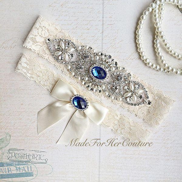 Royal Blue Wedding Garter, Bridal Garter Set, Blue Garter Set, Crystal... (40 PLN) ❤ liked on Polyvore featuring intimates, suspender belt and garter belt