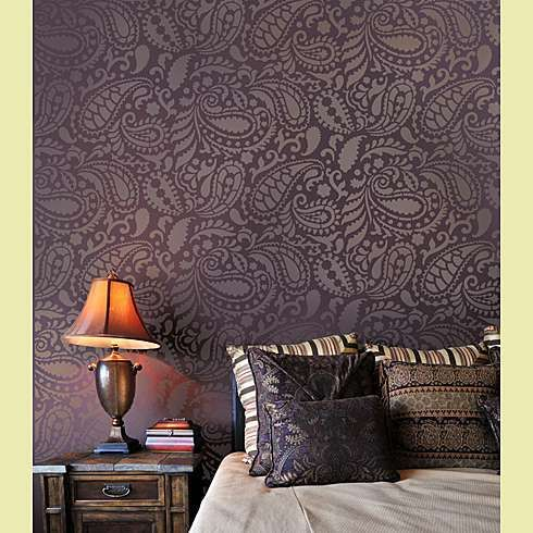 Paisley Stencil - wall in flat dark grey paint, stencil in same colour but glossy paint...I think yes!