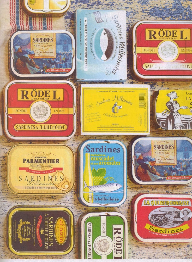 Looks pretty, may smell horrible: vintage sardine tins.