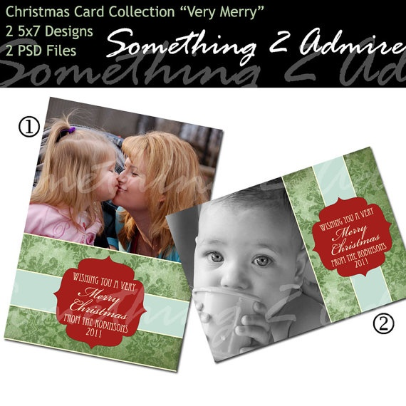"Christmas Photo Card Template, ""Very Merry"" Collection, 2 5x7 PSD Files, DIY and for Photographers : Holiday: Photo Collage, Christmas Cards, Card Templates, Halloween Photo, Christmas Photo Cards, Christmas Photos, Cards Templates"
