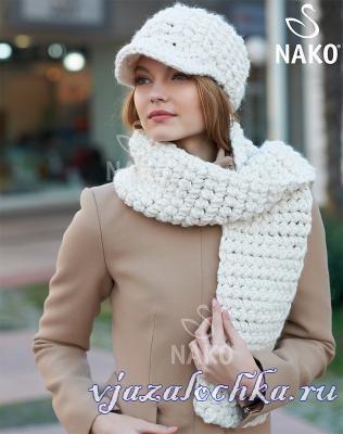 Женская шапка и шарф крючком