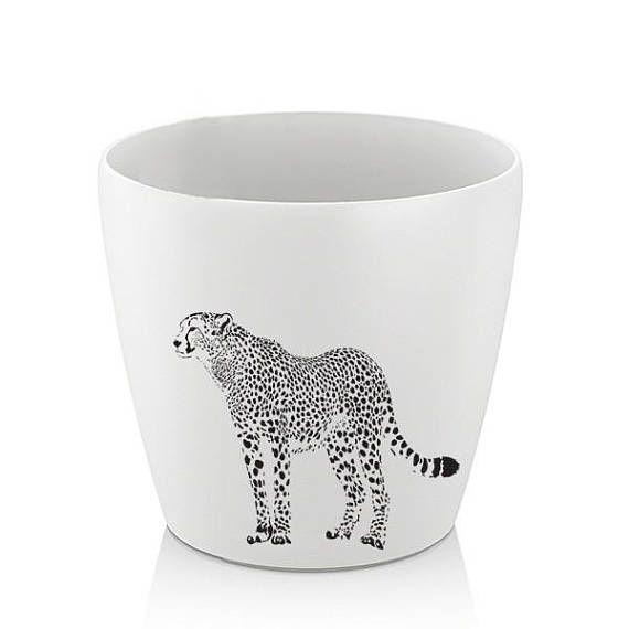 cheetah Hand Painted Flower pot Animal hand painted pot Hand