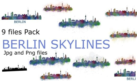 19 files pack. Berlin city skylines by HQPhoto Store on @creativemarket