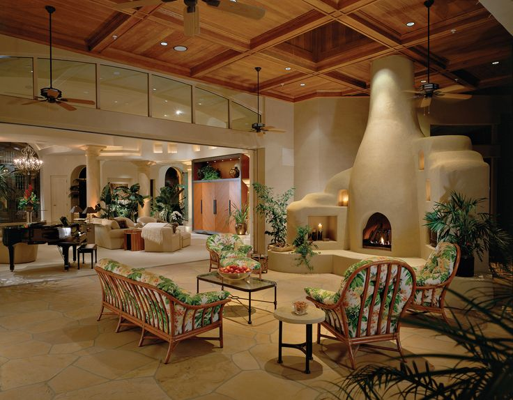 Luxury Patio Living, With Kiva Fireplace.