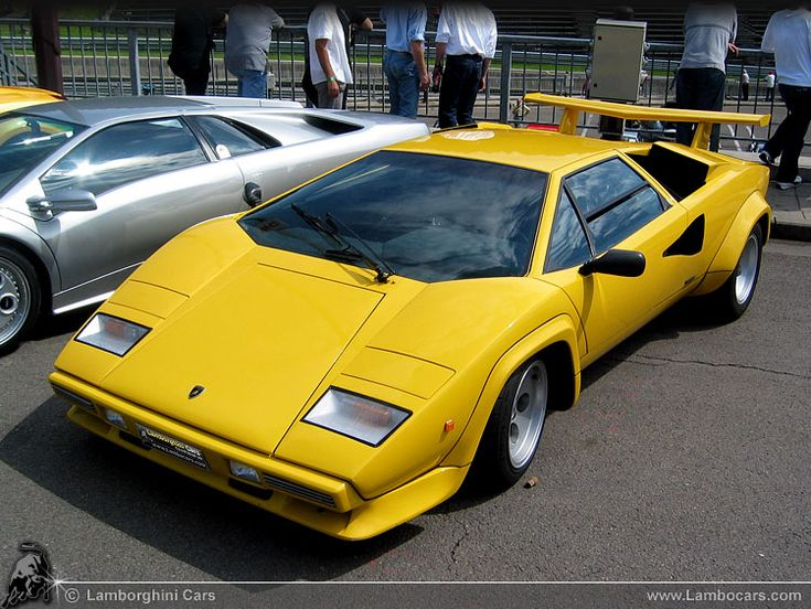 A bright yellow Lamborghini Countach LP400 S, note this is a 1980 model, and it still looks magnificent ...