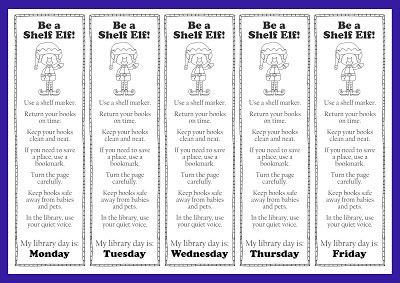I'm All Booked: Library Lesson: The Library's Shelf Elf. Using Jackie Mims Hopkins' book The Shelf Elf to teach book care and library manners. Has free bookmarks to download with this lesson.