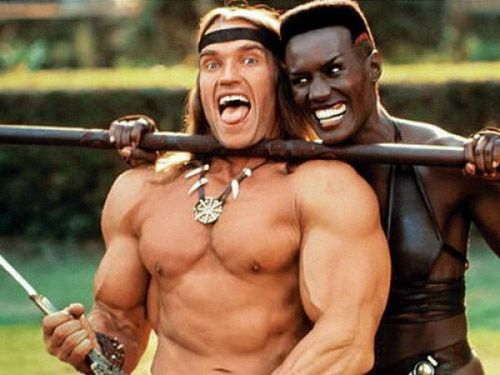 Arnold Schwarzenegger and Grace Jones on the set of Conan the Destroyer.