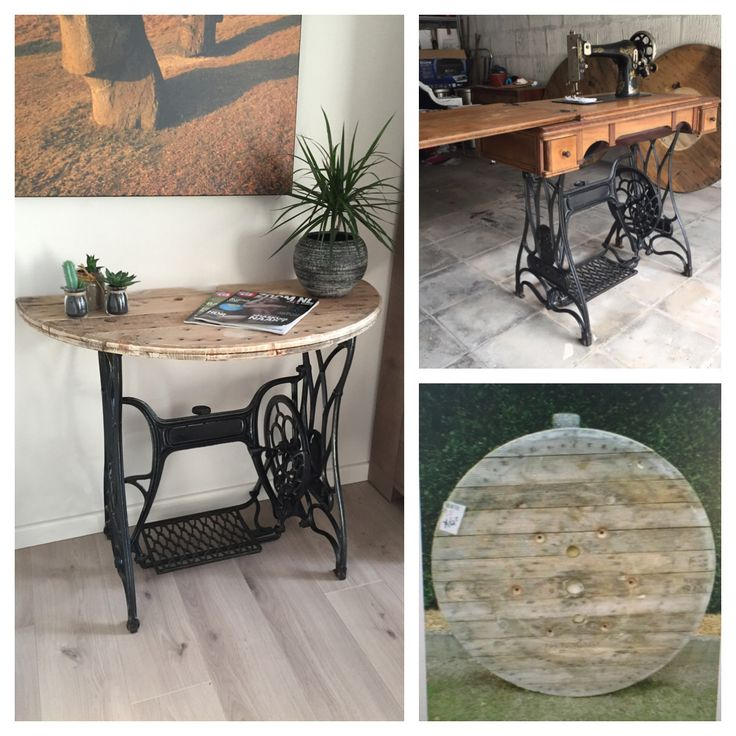 Cool sidetable made from wire spool and old sewing machine