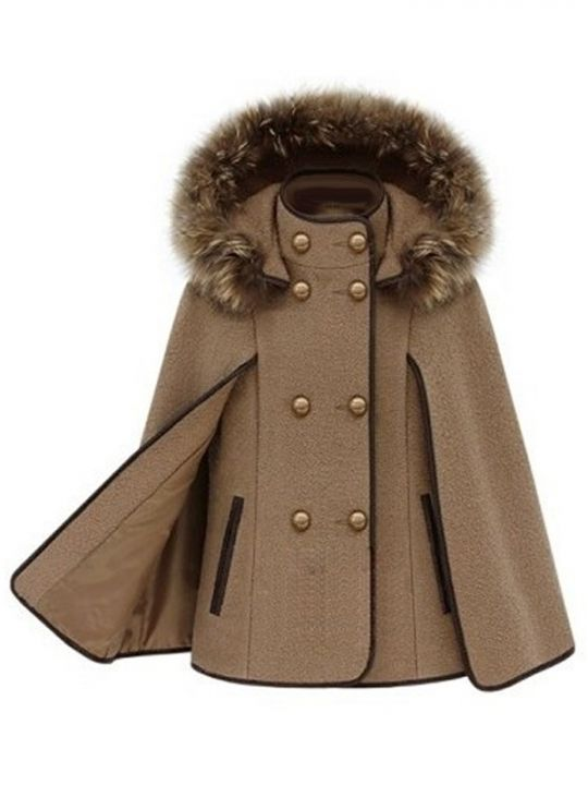 Double Breasted Detachable Fur Hooded Women's Fashion Cape Coats