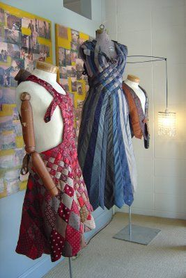Tie Dress *I like the blue and grey dress in the back, neat how it looks woven.*