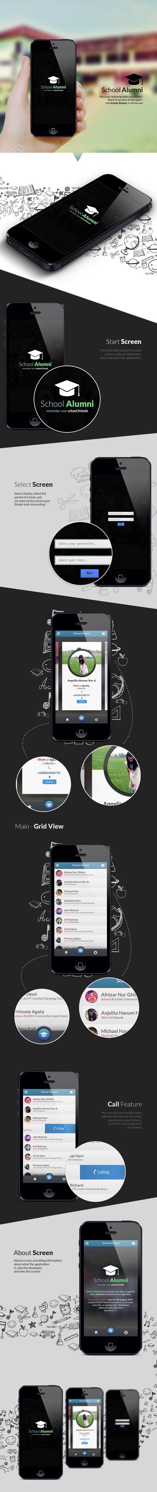 School Alumni Iphone Application concept by Afnizar Nur Ghifari *** #app #iphone #gui #ui #behance