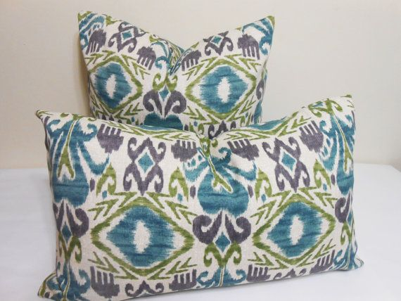 Purple And Lime Green Throw Pillows : Ikat outdoor/indoor pillow cover - turquoise - purple- lime green Ikat pattern- throw pillow ...