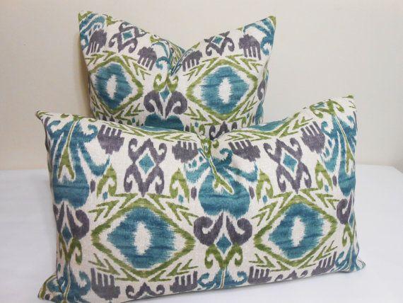 Turquoise And Purple Decorative Pillows : Ikat outdoor/indoor pillow cover - turquoise - purple- lime green Ikat pattern- throw pillow ...