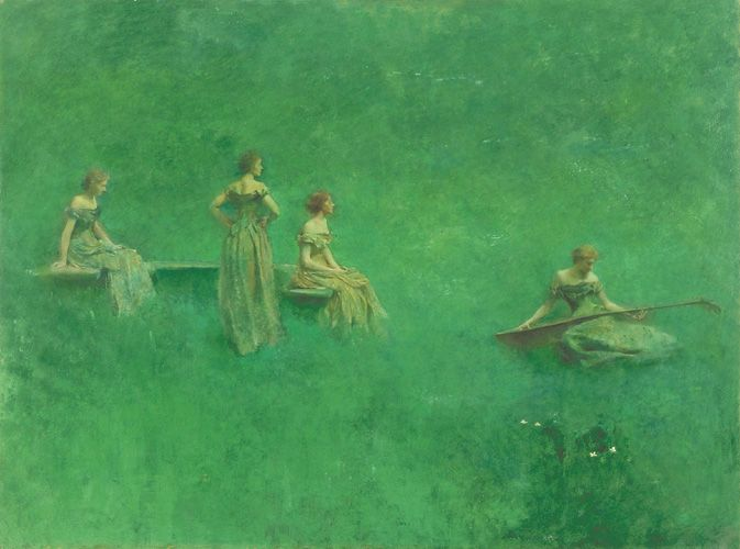 American Art | The Lute | F1913.34a: Lute, Artists, Wilmer Dew, Oil On Canvas, Green, Thomas Wilmer, 1904, Paintings, Thomas Dew
