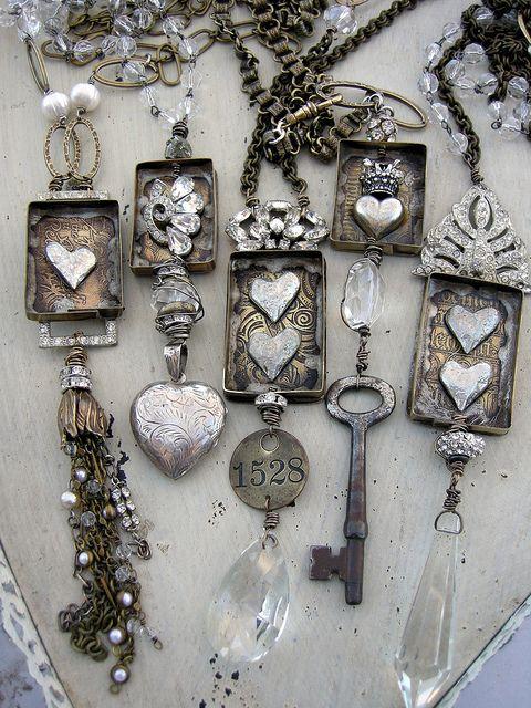 old keys, chandelier crystals