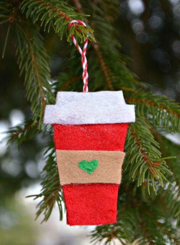 Felt Coffee Cup Starbucks Ornaments