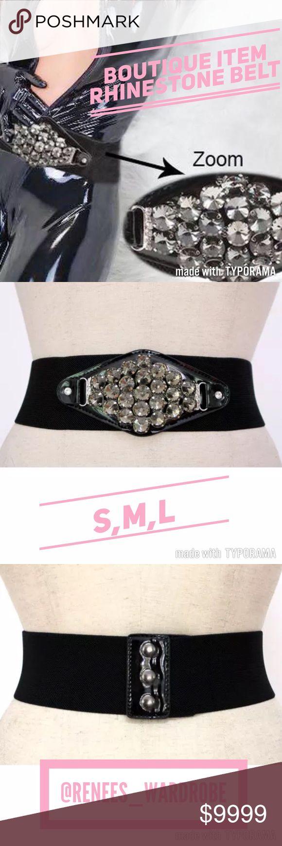 🍭Rhinestone Belt fits S,M,L Black rhinestone belt. One size Fits small, medium, large. Boutique item. Accessories Belts