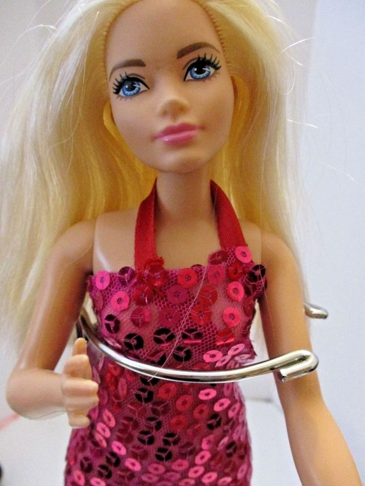 Details about curvy barbie doll blonde hair with pink
