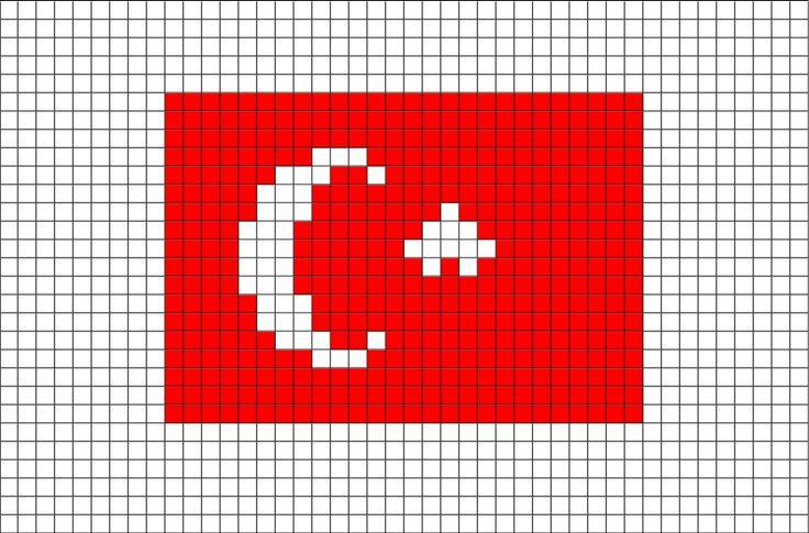Flag of Turkey Pixel Art | Brik Pixel Art Designs | Turkey ...