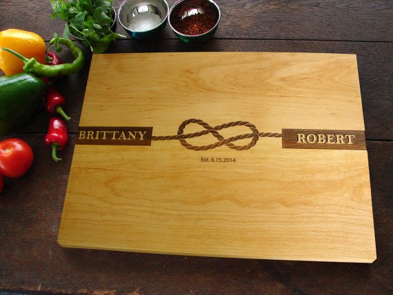 Tied The Knot Personalized Cutting Board Waterfront Beach