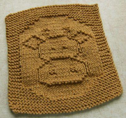 Cow Dishcloth free knitting pattern