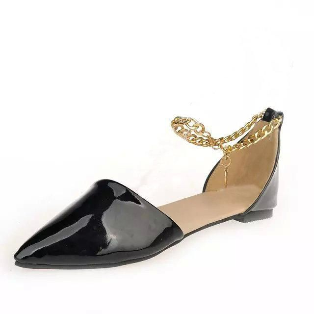 Metal Chain Flower Ponited Toe Flat Casual Shoes For Lady