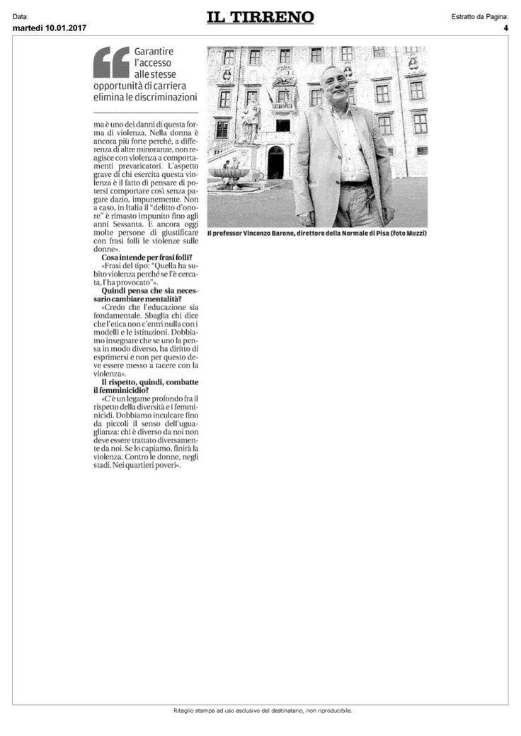 Violenza sulle donne: il parere del  Direttore della Scuola Normale #Vincenzo_Barone in una intervista a Il Tirreno.  2/2