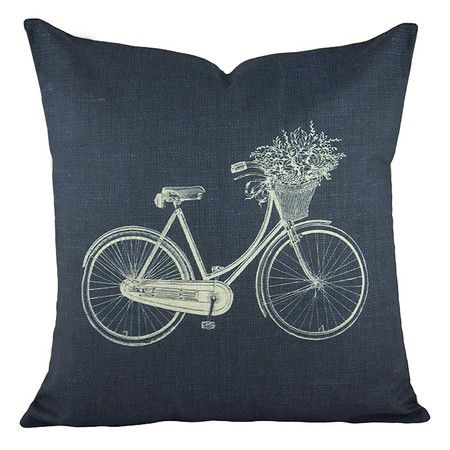 Blue cotton and linen-blend pillow with a bicycle motif.    Product: PillowConstruction Material: Cotton and linen