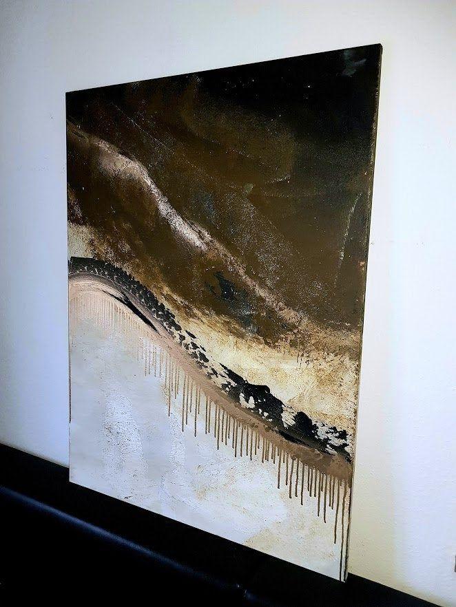 wandbild jean sanders xl gold braun creme beige auf keilrahmen120x100cm handgemalt gemalde unikat textur glanzend edel modern warme farben kunstloft acrylbilder pinakothek der moderne bilder