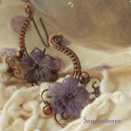 Violla * flowery earrings  amethyst, copper  * wire wrap * wirewrapping * wire artisan * handmade * wire * work * wirewrapped * wired