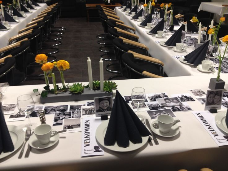 konfirmasjon - borddekking - bilder av konfirmanten sammen med gjestene som bordpynt