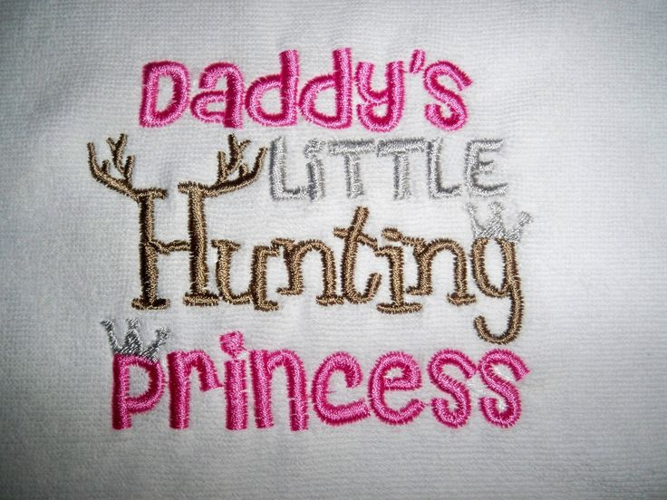 Baby Girl Daddy's Little Hunting Princess White with Pink, Silver, & Brown Bib- Perfect for the Little Hunter - Baby Girl Pink Hunting Bib by grinsandgigglesbaby1 on Etsy https://www.etsy.com/listing/106077409/baby-girl-daddys-little-hunting-princess