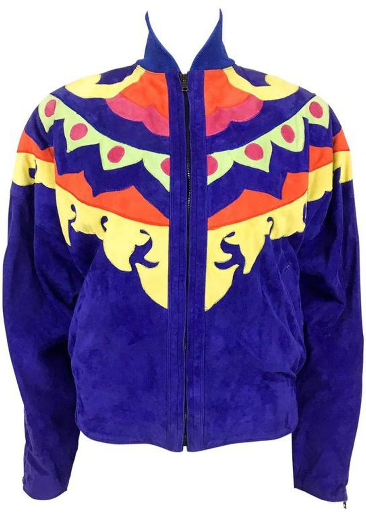 Versace Colorful Suede Jacket - 1990s via House of Pre-Loved - Vintage Boutique. Click on the image to see more!