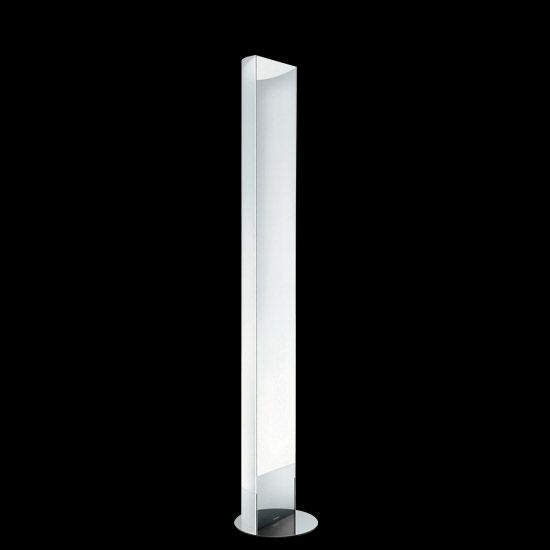 Incanto is a floorlamp with significant dimensions. A curved sheet of glass wraps around two halogen bulbs that project finishing: 5 mm thick sheet of curved extra-clear glass with a sanded finish, a base cover and a front panel made of steel with a mirror polish.