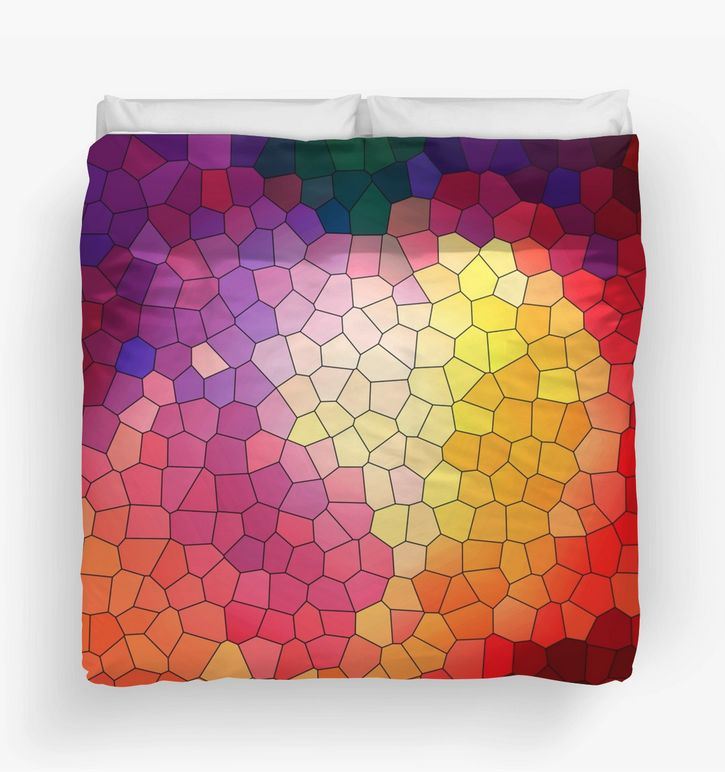 Colorful and warm Abstract Mosaic 4 Duvet Cover by Steel Graphics.