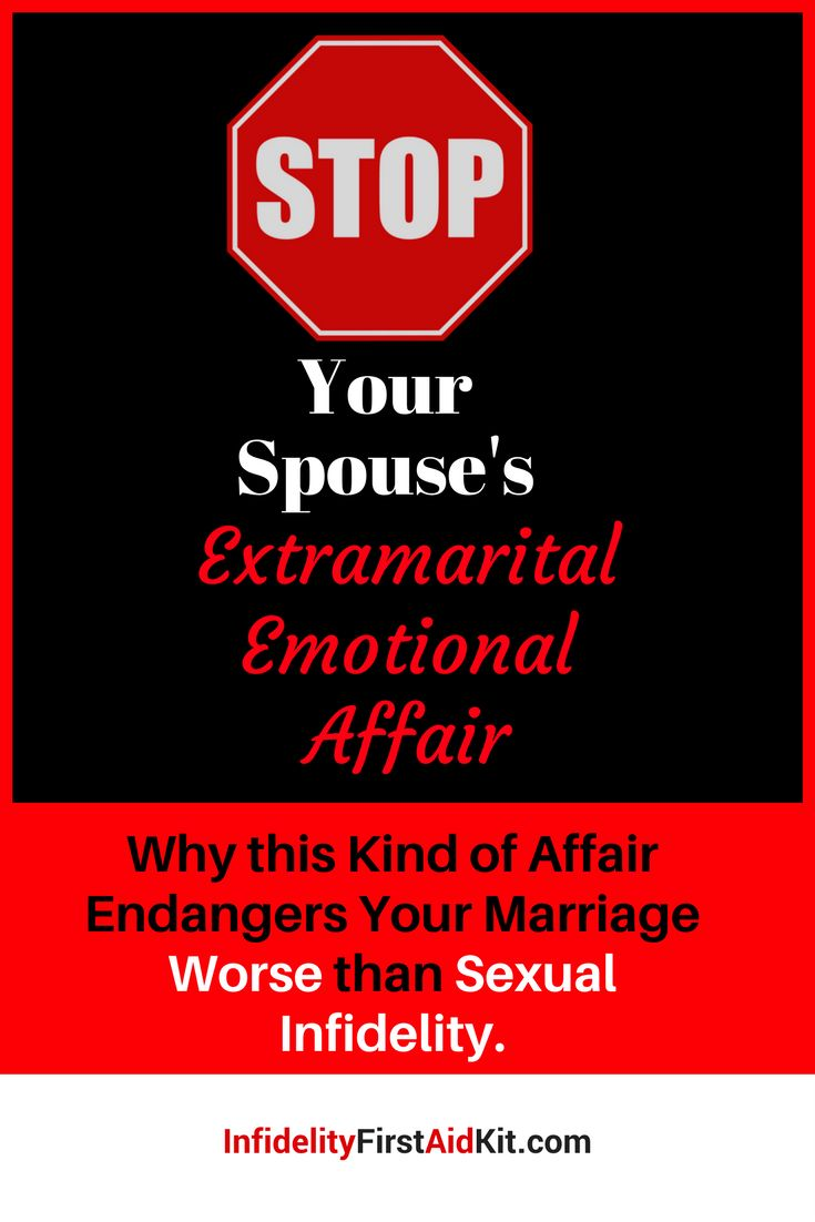 How can you stop your husband or wife's extramarital emotional affair?  What can you do to end his/her obsession with the Other Person?  Beware of emotional infidelity. Many believe it's worse than sexuality infidelity.  Visit https://www.infidelityfirstaidkit.com/stop-extramarital-emotional-affair/
