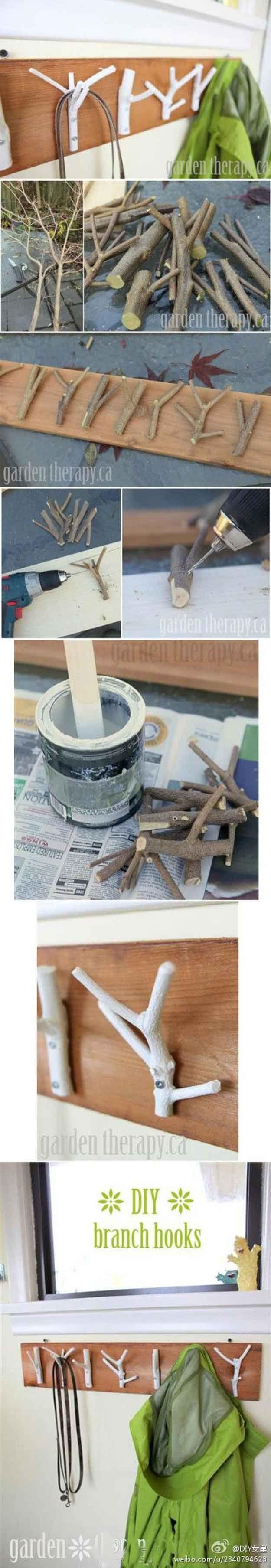 Cheap DIY Projects for Teenage Boys Bedroom Decor | Fallen Branch Coat Rack by DIY Ready at diyready.com/...
