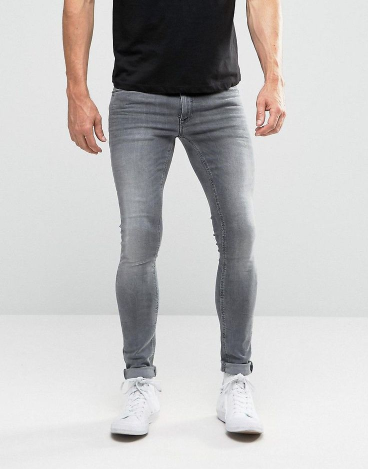 ASOS Extreme Super Skinny Jeans In Light Gray - Gray