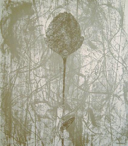 Prunella Clough - Black Peony (Paper flower) Lithograph
