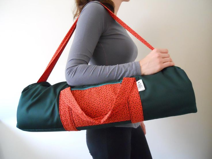 Shweshwe orange and green yoga bag