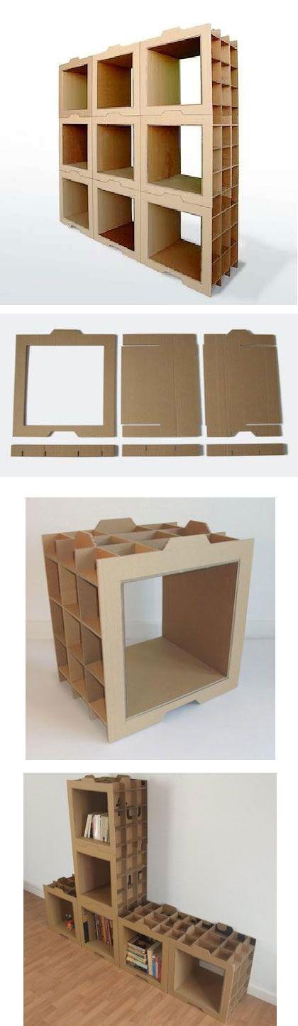 Estanter a modular con cart n reciclado dany gilles for Diy modular bookcase