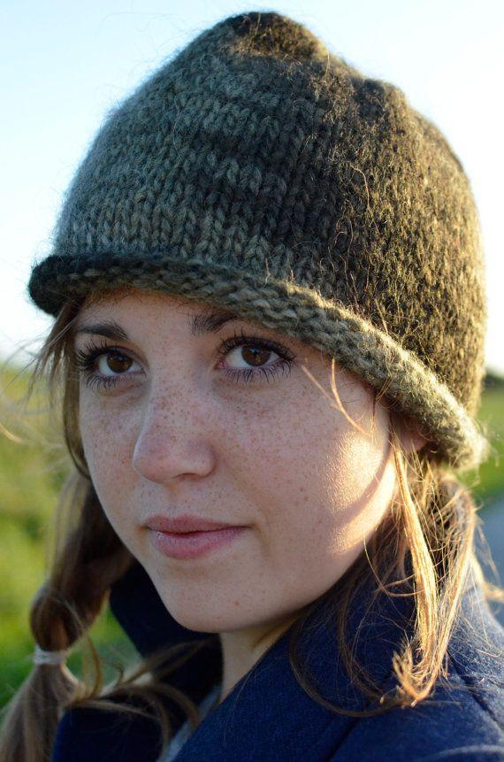 Knit wool hat in green shades by Kollestrik on Etsy, $55.00