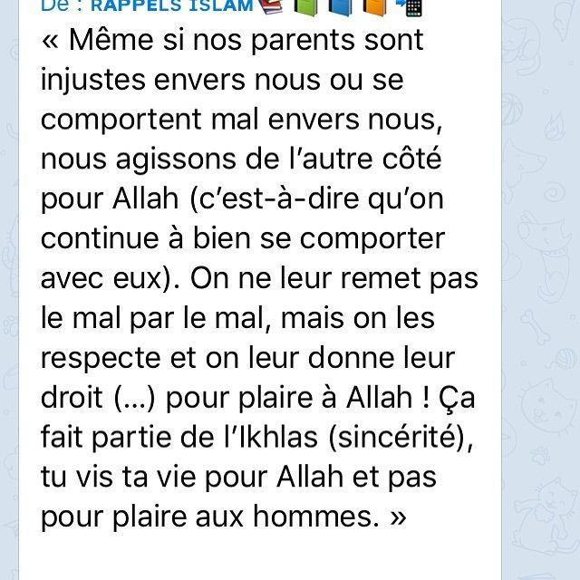 Bienfaisance Envers Les Parent Rappel Islam Islam Et