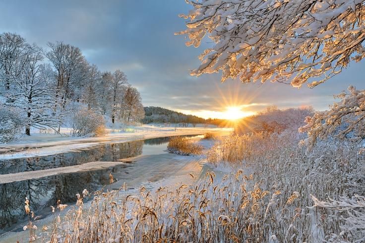 Winter landscape at Storån river, Östergötland, Sweden.