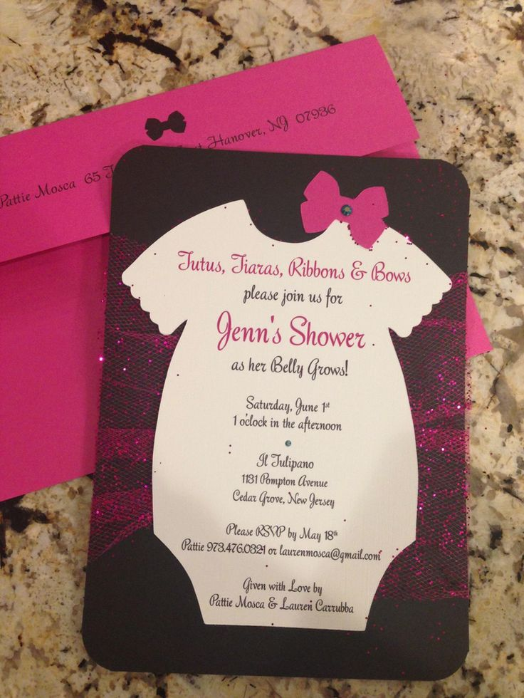wedding shower invitations handmade%0A Items similar to Tutu  Onsies  Bows Handmade Baby Shower Invitation with  Glitter Toole  u     a Swarovski Crystal on Etsy