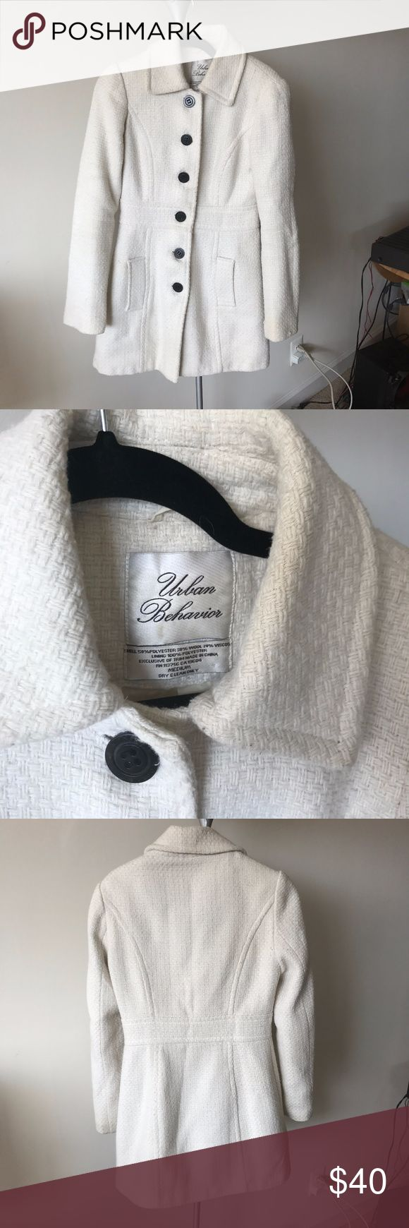 WOOL Med Cream Urban Behavior COAT jacket Gorgeous Cream Urban Behavior jacket! size medium. Best fits size 4-8/10 depending on bust. Buttons have been replaced with calvin klein dark buttons. Some light pilling.  Pet free smoke free home I accept or counter all offers Thanks for shopping and happy holidays! Urban Behavior Jackets & Coats