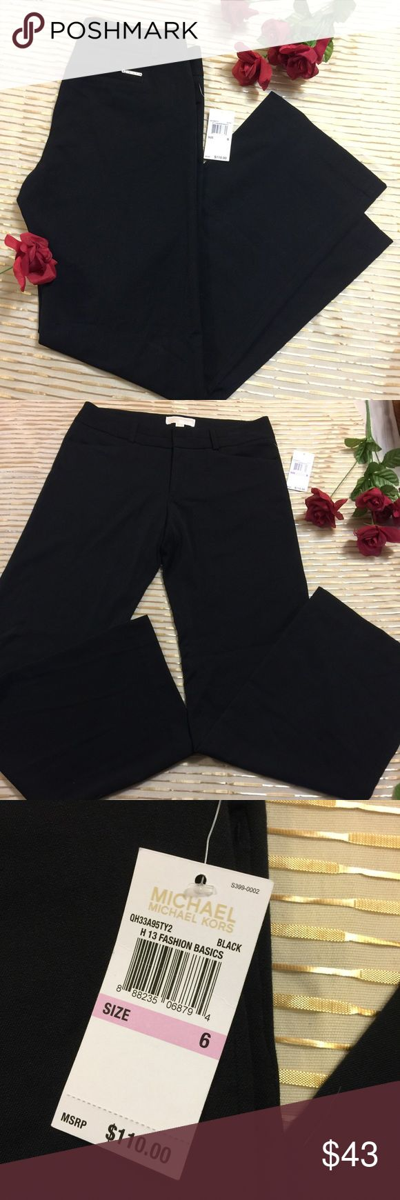 "NWT MICHAEL Michael Kors Black Wide Leg Trousers 6 Brand new with tags, MSRP $110, MICHAEL Michael Kors Black Dress Pants. 31"" inseam. 9"" rise. Size 6. Wide Leg. Perfect career piece. MICHAEL Michael Kors Pants Trousers"