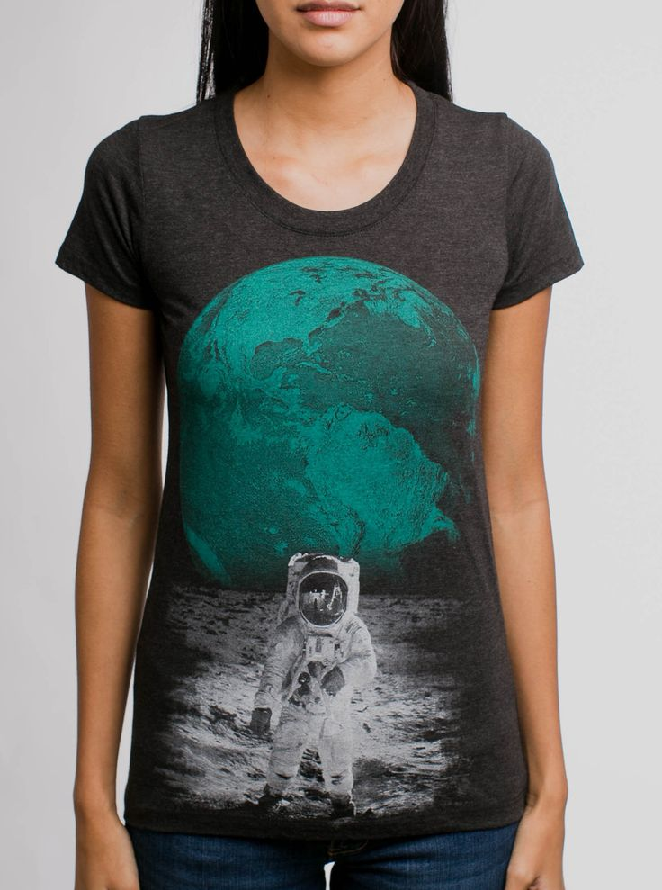 Spaceman - Multicolor on Heather Black Womens T-Shirt - Curbside Clothing
